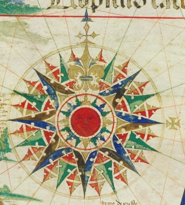 Detail of compass rose from the Cantino Planisphere (1502).