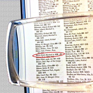 Photo of detail from page 15 of the index directs user to J9.