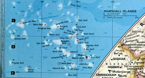 Photo of slightly larger scale detail of the Marshall Islands at C2 compared with J9, as indexed.